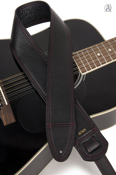 Simply Classy Black with Red Stitching Custom Guitar Strap