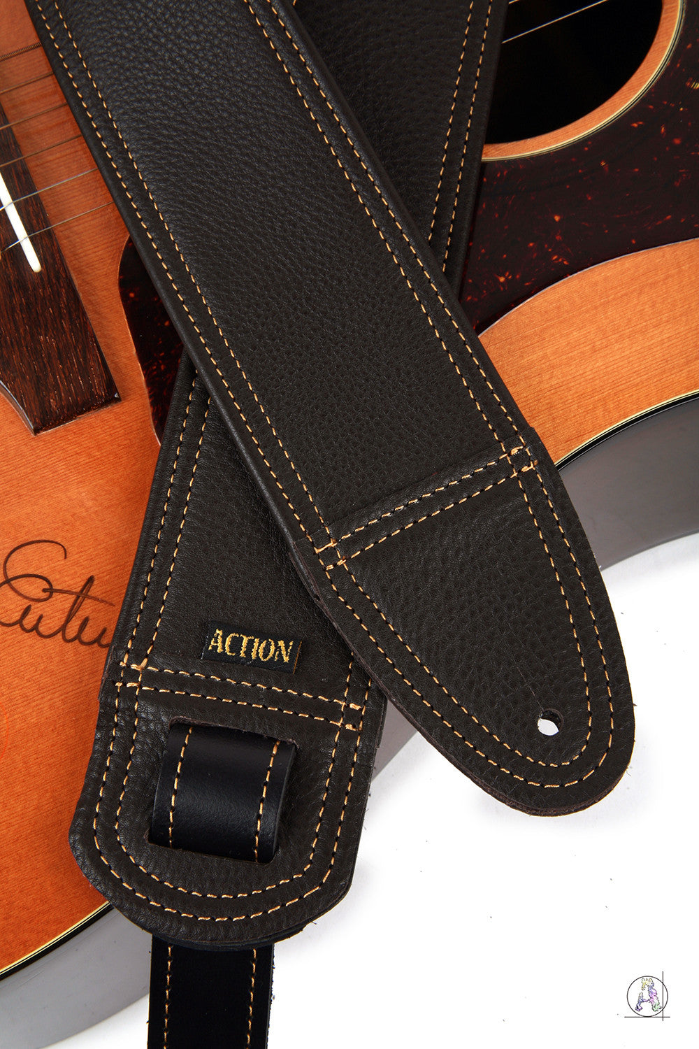 Simply Class Dark Brown with Gold Stitching Custom Guitar Strap