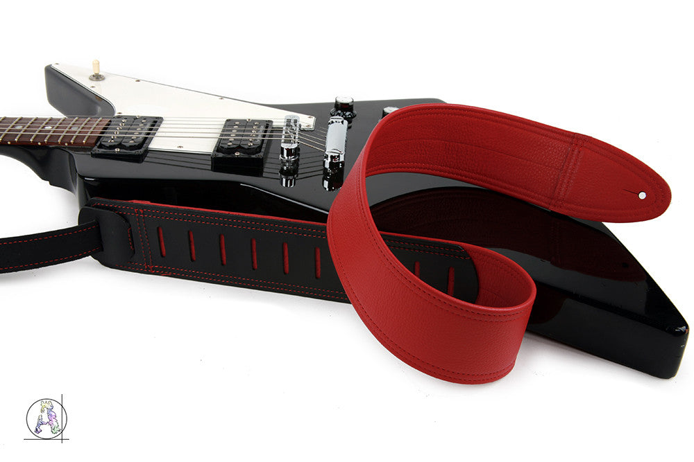 Simply Classy Red 100 Leather Guitar Strap