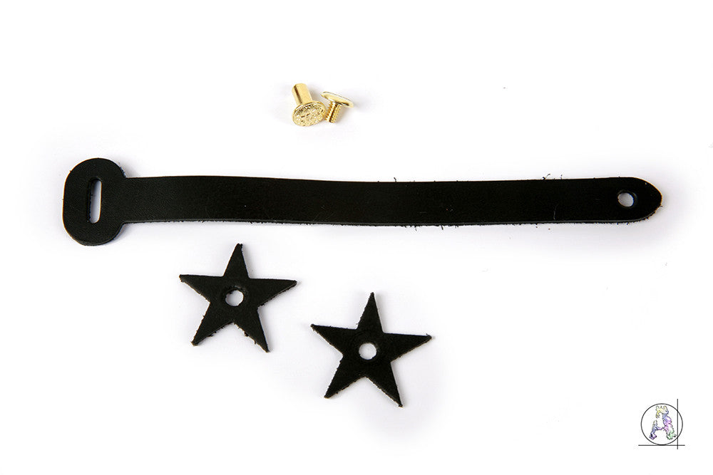 Black Leather Headstock Strap with Brass Hardware