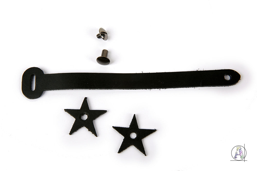 Black Leather Headstock Strap with Gunmetal Hardware