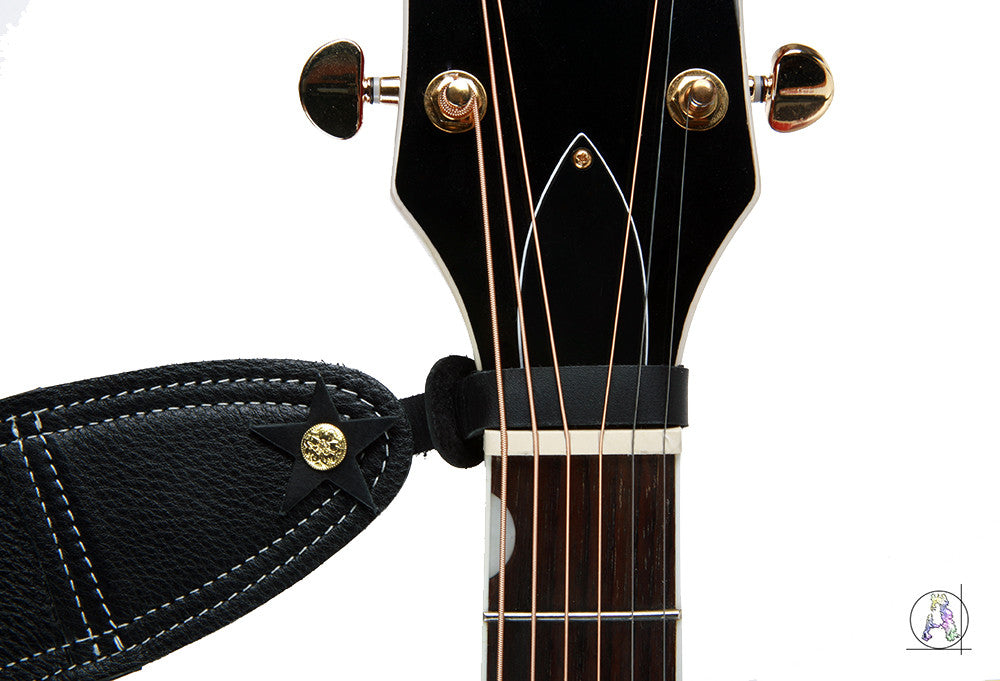 Black Leather Headstock Strap