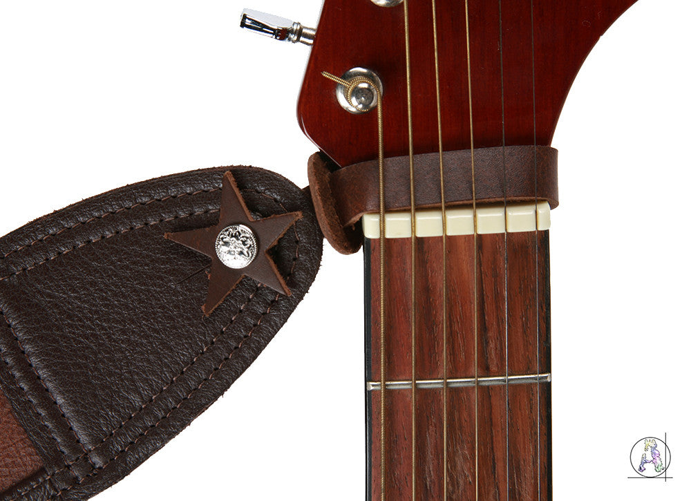 Action Headstock Strap - Brown Top Grain Leather