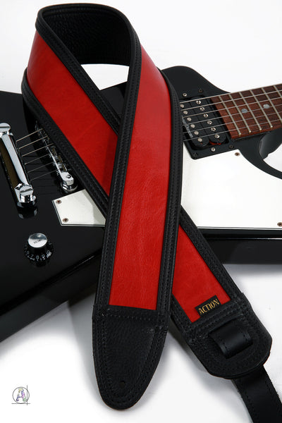 Limited Edition Echo Flame Red and Black Custom Guitar Strap