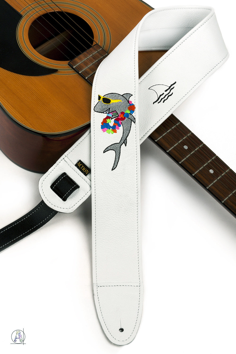 Party Shark Parrothead Embroidered Custom Guitar Strap