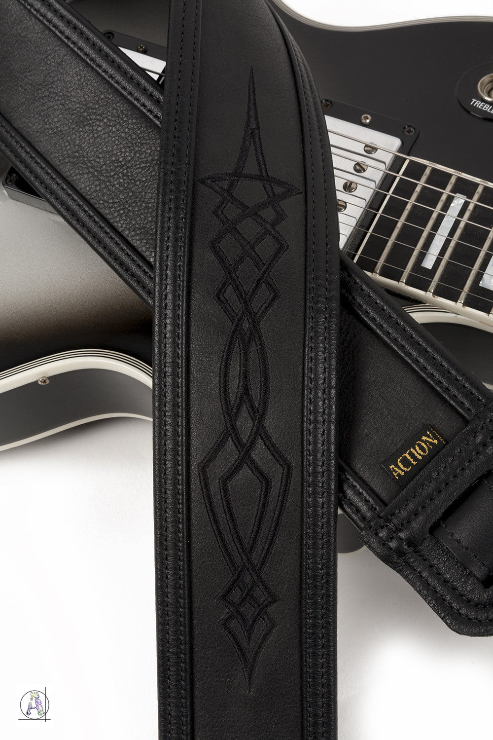 Stealth - Soft Black Leather Guitar Strap with Black Pinstriping