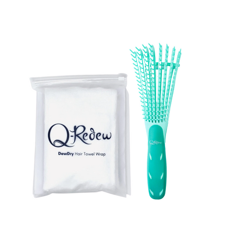 Q-Redew DewDetangle Detangling Brush and DewDry  Microfiber Towel Wrap Bundle