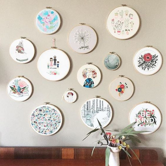 Gallery walls - a great way to display your finished embroidery