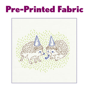 Hedgehog Party Pre-Printed Fabric