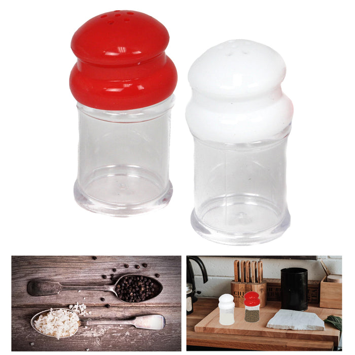 2PC Salt & Pepper Shakers Set Modern Spices Jar BPA Free Plastic Kitchen Camping
