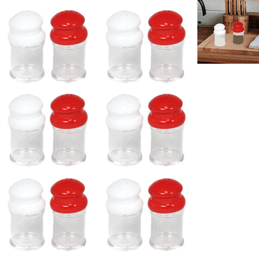 12 Salt & Pepper Shakers Set Modern Spices Jar BPA Free Plastic Kitchen Camp Lot