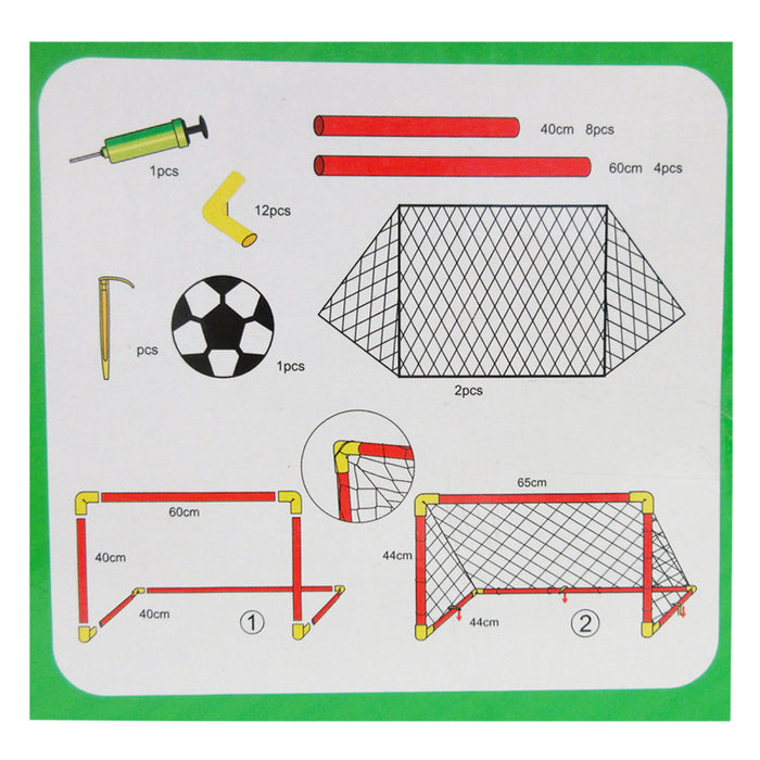 Soccer Hockey Goals w/ Nets Stakes Ball Pump Set Twin Goal Training Sports 32PCS