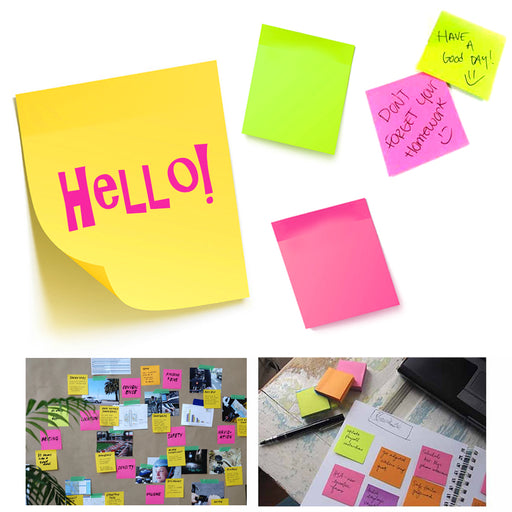 "2 Pack Sticky Notes 560 Sheets Mini Memo Pad Neon Colors Self Adhesive 1.5"" x 2"""