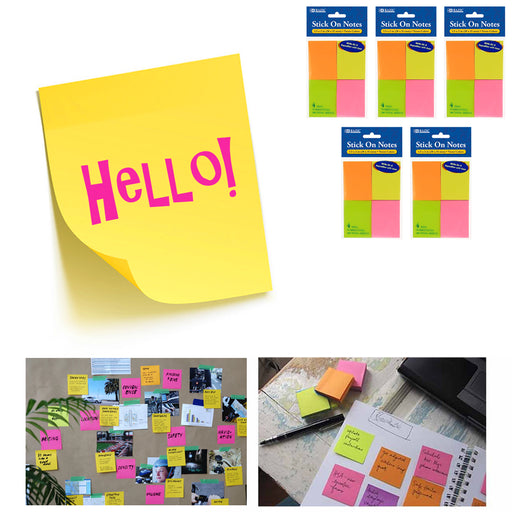 "1400 Mini Post Sticky Notes 1.5"" x 2"" Self Adhesive 5 Pack Memo Pads Office Desk"