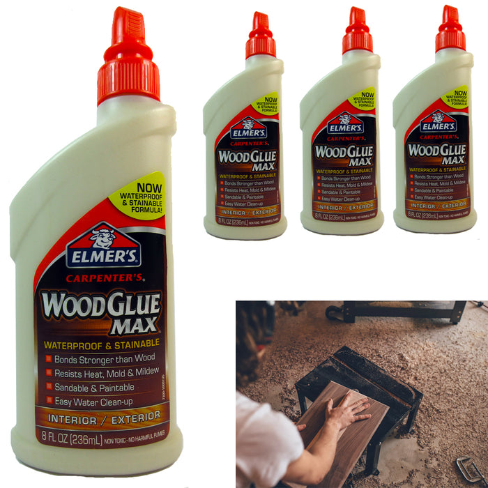 4Pc Elmer's Carpenter Wood Glue Max Interior Exterior 8oz ea Waterproof Adhesive