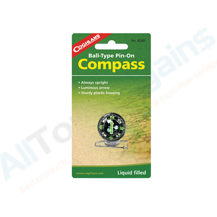 Coghlan's Ball Type Pin On Compass Travel Camping Hiking Military Outdoor Gift !
