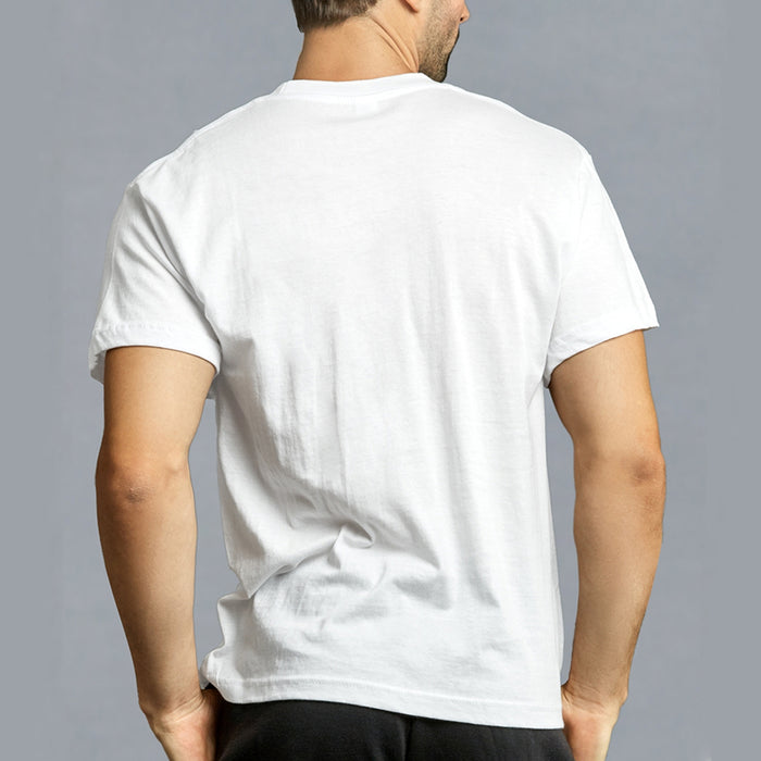 3 Mens White V-Neck T-Shirt 100% Cotton Undershirt Comfort Soft Tee Tagless Sz L