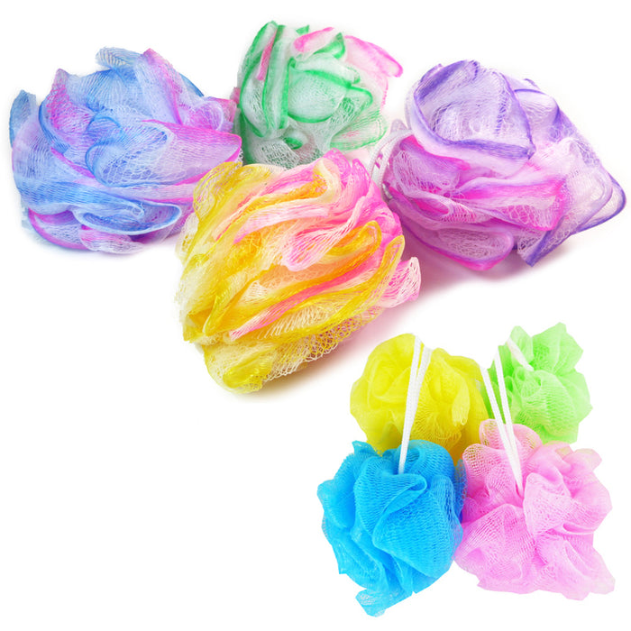 12 Lot Bath Shower Puff Sponges Loofah Mesh Brush Ball Body Scrubber Exfoliating