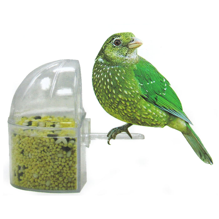 12 Pc Universal Bird Cage Seed Water Food Feeder Clear Heavy Duty Plastic Cups