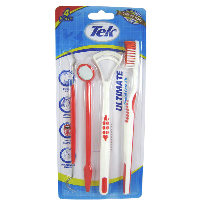 1 Pack Oral Dental Hygiene Set Pick Tongue Scraper Tooth Brush Mirror Breath 4Pc