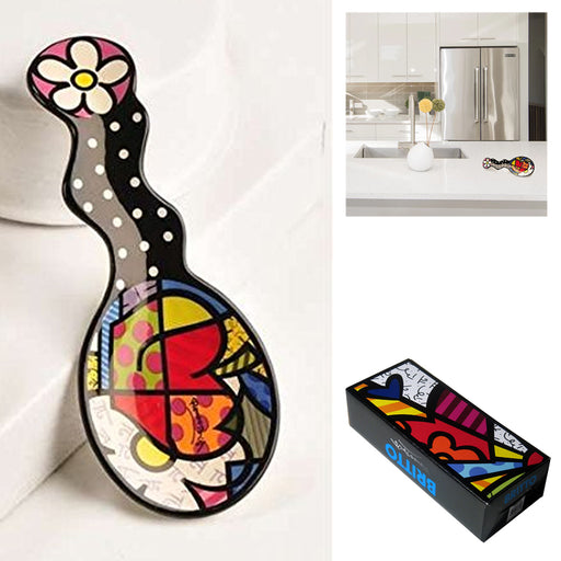 Romero Britto Spoon Rest Kitchen Utensil Ceramic Holder Home Decor Novelty Gift