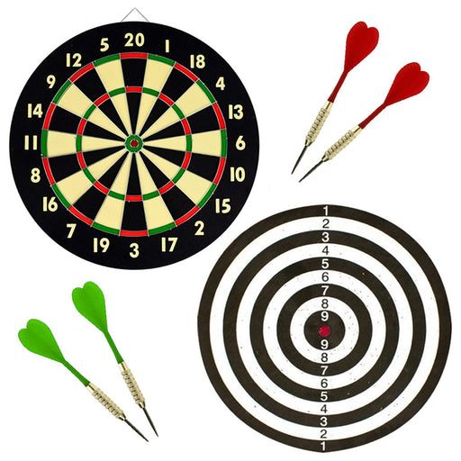 Wall Dart Board Double Sided W/ Darts Beginner Hobby Classic Target Game Set New