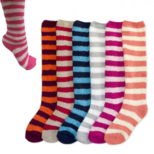 12 Pairs Women Girl Winter Socks Warm Cozy Fuzzy Slipper Knee High Long 9-11 Lot