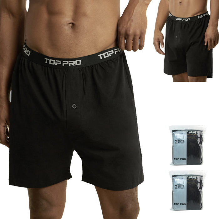 4 Mens Classic Knit Boxer Shorts Black 100% Cotton Underwear Comfort Soft Sz 2XL