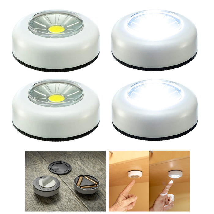 4 Pc COB LED Night Light Push Stick On Wireless Closet Cordless Battery Operated