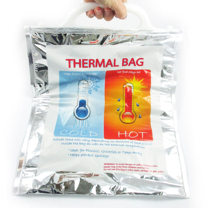 1 Small Insulated Foil Grocery Bag Hot Cold Reusable Thermal Food Storage Carry