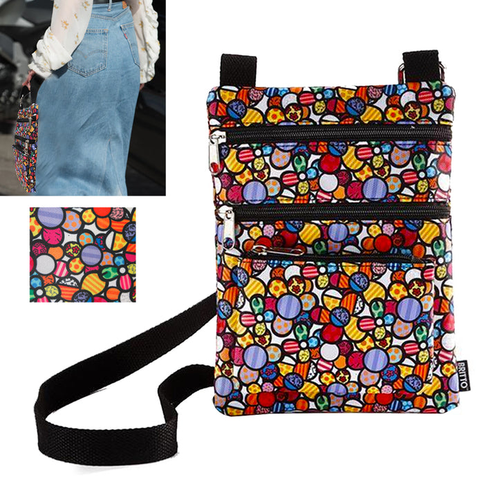Romero Britto Womens Crossbody Purse Shoulder Bag Zipper Pocket Art Vintage Gift