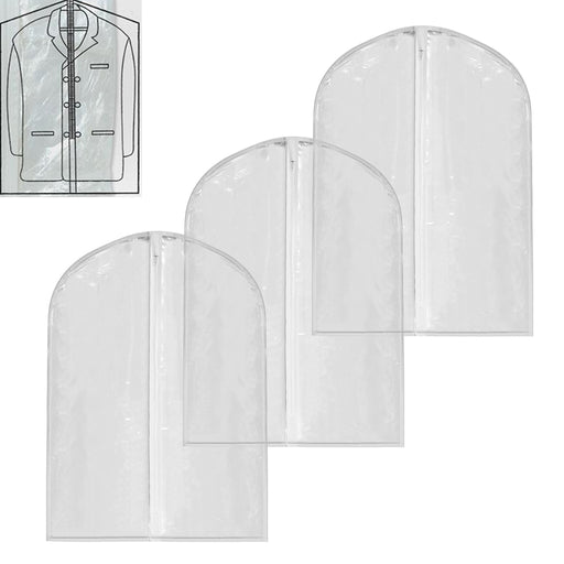 "3 Pc 40"" Garment Bag Suit Dress Storage Travel Clothes Coat Carrier Cover Clear"
