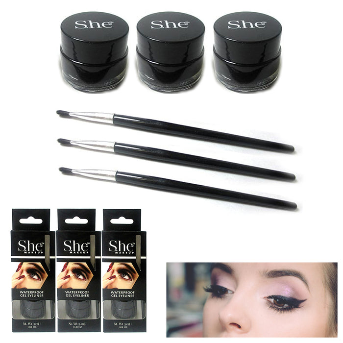 3x Black Gel Eyeliner Waterproof Long Wear Cat Eye Brush Makeup