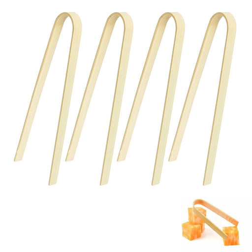 4 Pc Mini Tongs Bamboo Wood Natural Disposable Small Utensil Toast Appetizer 4""