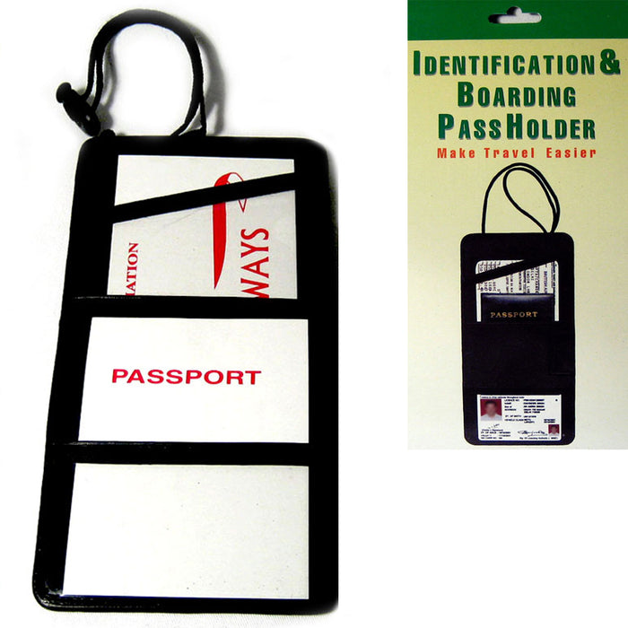 Black Leather Passport Boarding Pass Ticket ID Card Thin Holder Neck Pouch Strap