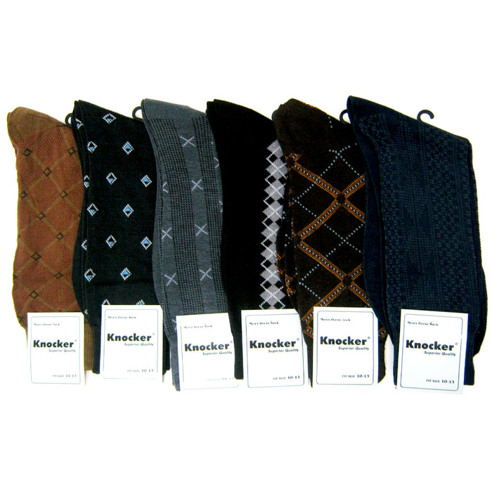 6 Pairs Mens Dress Socks Assorted Business Casual Print Work Size 10-13 Fashion