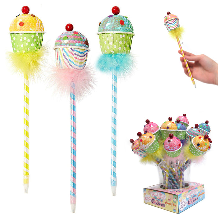 3PC Sequin Cupcake Ballpoint Pens Cute Ball Pencil Gift Kids School Stationery