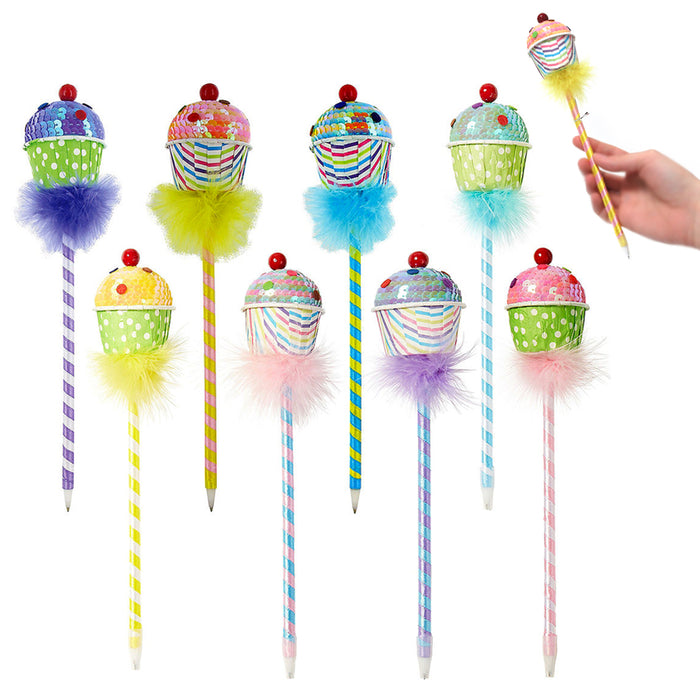 6 Lot Cute Ballpoint Pens Sequin Cupcake Ball Pencil Gift Kids Stationery School