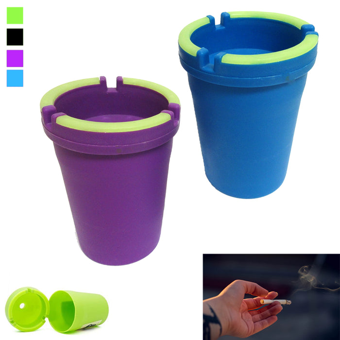 2 Ashtray Car Cup Glow Butt Bucket Cigarette Smoke Ash Holder Self Extinguishing