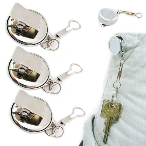 3 Lot Heavy Duty Metal Retractable Badge Reel W/ Chain Pull ID Holder Belt Clip