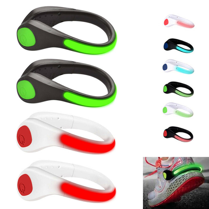 Lot of 4 LED Shoe Clip Night Light Luminous Safety Bright Warning Running Sports