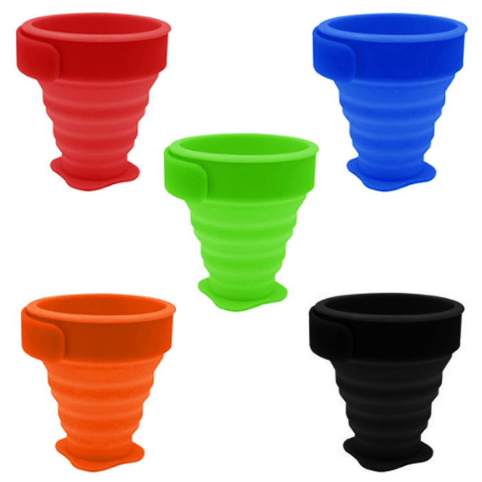 5 Pack Portable Folding Silicone Drinking Cup Telescopic Collapsible Travel Camp