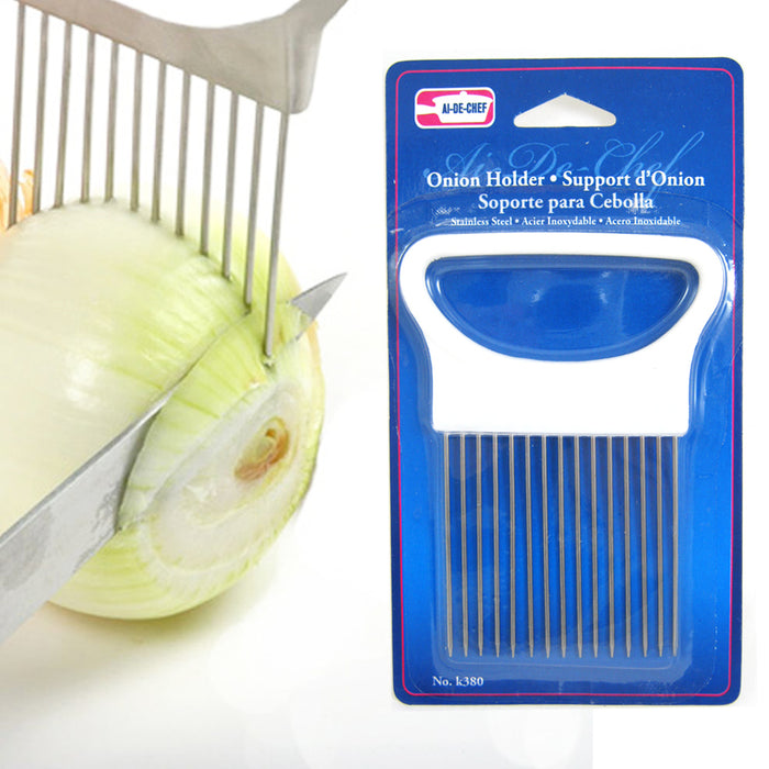 4 New Onion Holder Slicing Guide Stainless Steel Prongs Holds Slice Aid Cutting