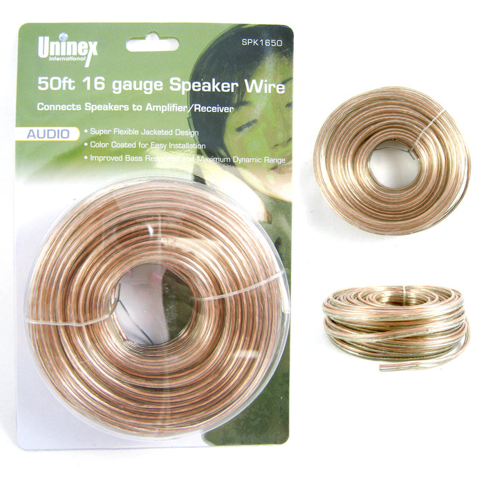 50 FT Feet 16 Gauge Speaker Cable Wire Audio Car Home Audio Amplifier How Many Feet Of Wiring Is In A Car on