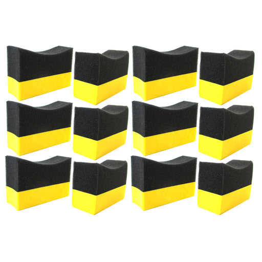 12 Contour Tire Dressing Applicator Pads Gloss Shine Color Sponge Wax Polishing