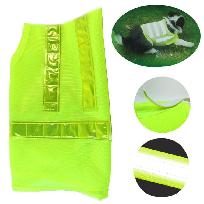1 Safety Pet Dog Cat Reflective Vest Yellow Adjustable Strap Soft Mesh Walk Hunt