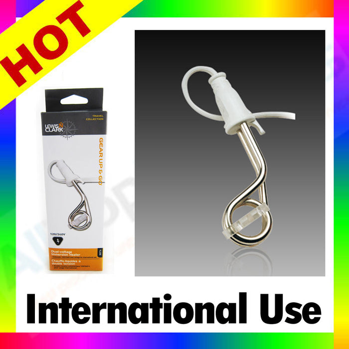 Lewis N Clark Dual Voltage Immersion Heater 120V 240V Travel Hot Water Portable