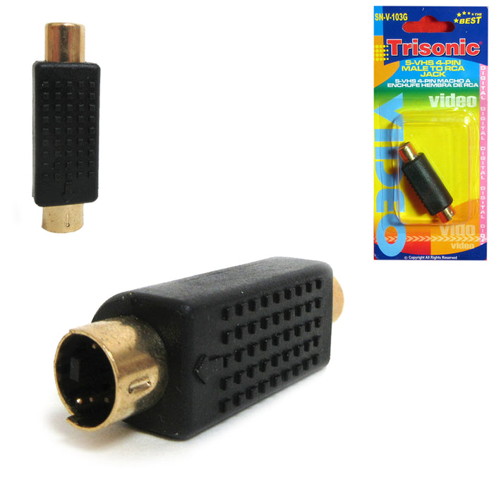 2 Male to RCA Jack Adapter S-Video Composite Video VHS SVHS Plug Connector 4 Pin