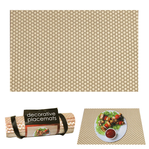 "4PC Decorative Woven Bamboo Look Placemats Dining Room Table Place Mat 12"" x 18"""
