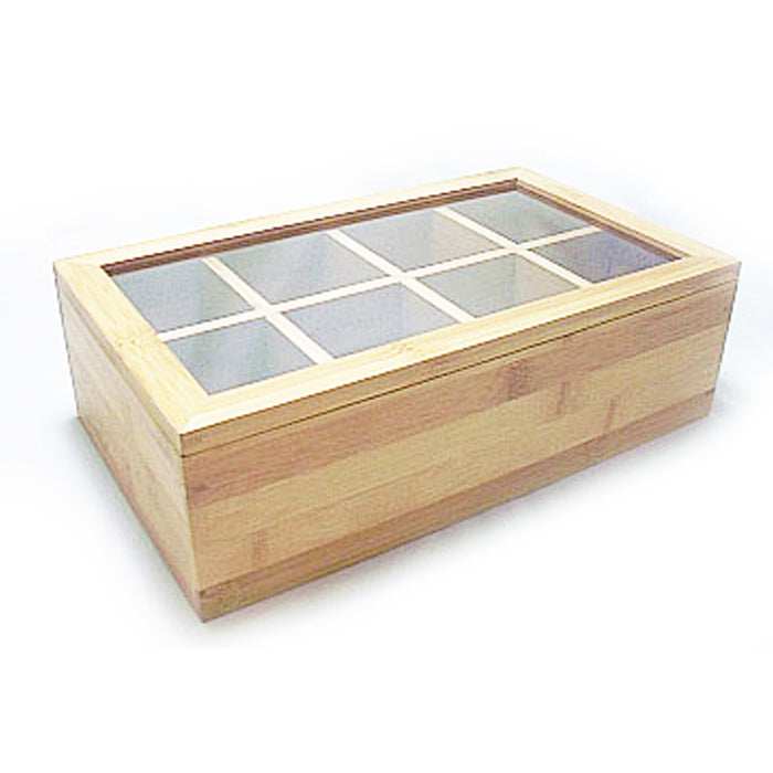 Lipper Bamboo Tea Box Divided Wood Bag Jewelry 8 Sections Storage Clear Lid